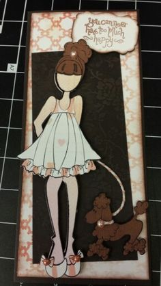 "Sample Card #3 of 3 for my Paper Dolls Card Class featuring ""Halie"" Julie Nutting Paper Dolls Stamp & Die sets."