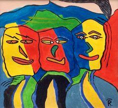 Triple, schilderij van Rene Klerks | Abstract | Modern | Kunst
