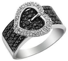 Black Diamond Buckle Stylish Ring for Women