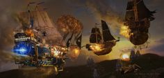 Steampunk Tendencies | Illustration by Vladislav Laryushin #Digitalart #Illustration #Airship #Steampunk