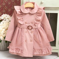 Thickened Lace Ruffle Button Tulle Trench Coat https://www.popreal.com/Products/thickened-lace-ruffle-button-tulle-trench-coat-10370.html #newbornjackets           #newbornbabyjackets           #newbornouterwear           #newbornouterwearwinter #popreal