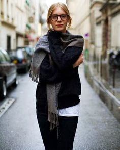 Navy Sweater and Grey Scarf