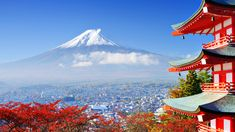 Mount Fuji with Autumn colors in Japan – Mount Fuji is located on Honshu Island, south of Tokyo. It is the highest point in the country and in June 2013 Mount Fuji was named a UNESCO World Heritage site. Landscape Wallpapers, Kyoto, Monte Fuji Japon, Travel Pictures, Travel Photos, Mont Fuji, Asian Architecture, Mountain Wallpaper, Travel Alone