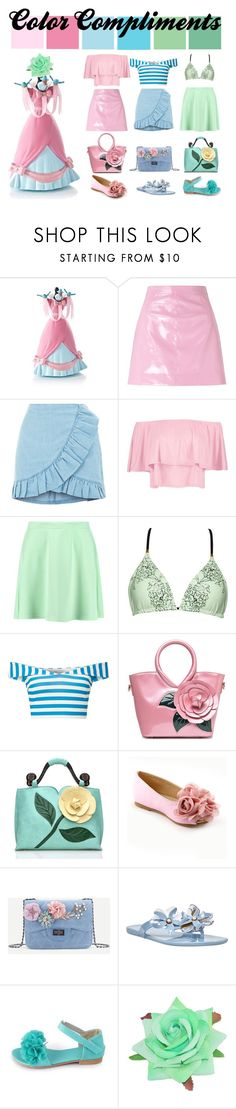 """""""Color Compliments 002"""" by mirella-rosa on Polyvore featuring Disney, Miss Selfridge, Boohoo, Nine West, Pink, Blue, GREEN, girly and aesthetic"""