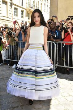 Li Xiaolu at Dior Haute Couture. See all the celebs at Paris Couture Week.