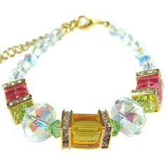 Yellow - Pink Cubic Crystal Bracelet made with Swarovski Elements, 7 inches, by Natalie: Natalie J.: Jewelry