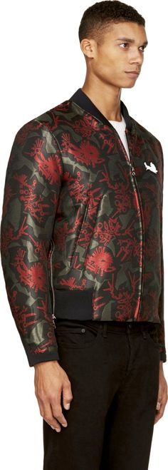 "Kenzo Red & Green ""Monster"" Bomber Jacket"