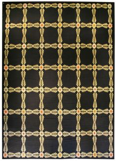 A Portuguese Needlework rug BB3991 - by Doris Leslie Blau.  A modern mid 20th century Portuguese needlework rug, the black field with an allover lattice of simple leafy vines ...