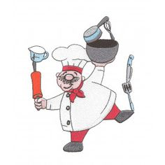 cute chef balancing kitchen items rolling pin mixing cup spatula knife mixing bowl measuring cup and whisk red pants red scarf filled machine embroidery design