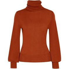 ChloéWool Turtleneck Sweater (€610) ❤ liked on Polyvore featuring tops, sweaters, brick, brown turtleneck, wool turtleneck sweater, chloe sweater, bell sleeve turtleneck and bell sleeve sweater