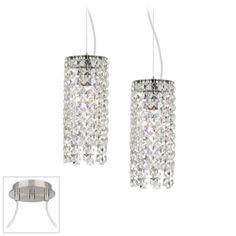 Crystal Cascade Brushed Nickel Double Multi Light Pendant - #X9895-V8477   LampsPlus.com