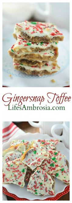 If you love gingersnaps, toffee and white chocolate, you& love this Ginger. If you love gingersnaps, toffee and white chocolate, you& love this Gingersnap Toffee. It& perfect for Christmas! Christmas Sweets, Holiday Baking, Christmas Desserts, Christmas Baking, Fun Desserts, Delicious Desserts, Dessert Recipes, Christmas Candy, Christmas Goodies
