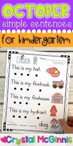 October Simple Sentences for Kindergarten