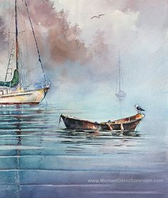 In the Mist  Sailboat Watercolor Painting Print by Michael