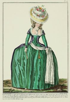 Galerie des Modes, 27e Cahier, 3e Figure  Robe à la Turque or type of Circassienne, but different than the others; it has a collar like a Lévite, and a very large white scarf knotted at the waist: the petticoat is coupé: no trimming.  This gown, which we will show in profile and from the back, attracted all the eyes of the Public, when it was seen for the first time at the Palais Royal in the month of last July 1779. (1779)