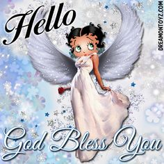 Hello - God Bless You MORE Betty Boop Images http://bettybooppicturesarchive.blogspot.com/  ~And on Facebook~ https://www.facebook.com/bettybooppictures   Angel Betty Boop with butterfly earrings on a background with flowers and stars #Greeting #Quote #Saying