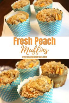 Fresh Peach Muffins are the perfect morning treat.  They are light, a little sweet and loaded with tons of peach yumminess in each bite! . #peach #peachmuffins #freshpeaches #muffins #recipe #breakfast #sparklesnsprouts
