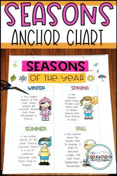 Weather and Seasons Anchor Charts Elementary Science Classroom, Cloud Type, Todays Weather, Weather Seasons, Science Resources, Seasons Of The Year, Cause And Effect, Anchor Charts, Phonics