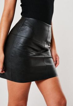 a black faux leather mini skirt with zip back and high waist. regular fit mini - sits mid thigh polyurethan cotton Susie wears a UK size 8 / EU size 36 / US size 4 and her height is Black Leather Skirts, Leather Dresses, Black Faux Leather, Leather Skirt Outfits, Gaun Dress, Winter Fashion Outfits, Stylish Outfits, Rock Chic Outfits, Fall Outfits