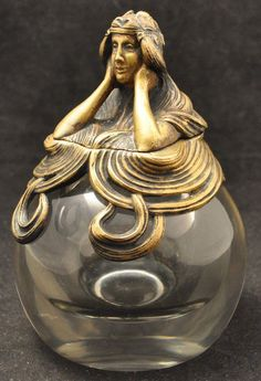 Antique Art Nouveau Crystal Ball Inkwell:
