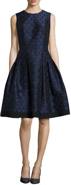 Carmen Marc Valvo Polka-Dot Jacquard Fit-and-Flare Dress, Midnight Black