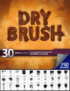 Buy 30 Dry Brushes Set by SPetrany on GraphicRiver. 30 Hi-res dry brushes. Great for adding grunge to images or for creating your own textures and effects. Set contains:. Photoshop Tips, Photoshop Brushes, Photoshop Design, Brushes Free, Optical Flares, Photoshop Express, Shops, Ber, Dry Brushing
