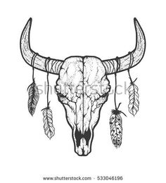 Bull skull with feathers native Americans tribal style. Dotted Tattoo ...