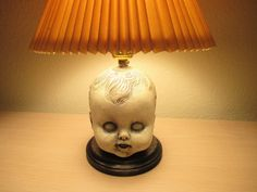 Creepy Doll Head Lamp Concrete & Wood by BlackJackThreads on Etsy