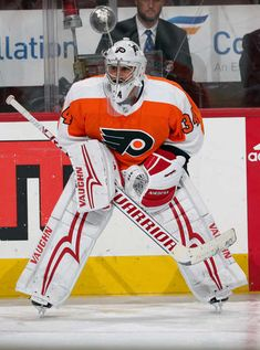 PHILADELPHIA, PA - FEBRUARY 20: Newly acquired goaltender Petr Mrazek #34 of the Philadelphia Flyers looks on during warmups prior to his game against the Montreal Canadiens on February 20, 2018 at the Wells Fargo Center in Philadelphia, Pennsylvania. (Photo by Len Redkoles/NHLI via Getty Images)