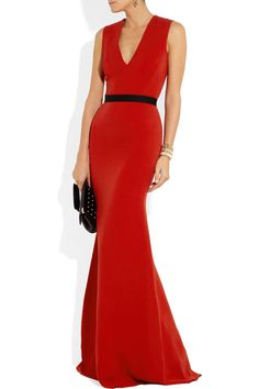 Victoria Beckham-Belted wool and silk-blend double crepe gown