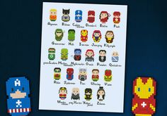Superheroes parody alphabet sampler  Cross stitch door cloudsfactory, $12.00