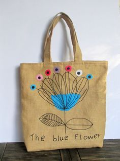 Handmade jute Tote bag, unique, sporty chic, summer tote bag, colorful tote bag, blue flower