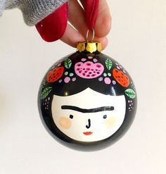 Frida Kahlo Christmas Bauble/ Ceramic Christmas Bauble/Frida Kahlo gift Hand painted ceramic bauble that measures in diameter. It's sealed with gloss varnish and comes packaged in a cardboard box. Candy Christmas Decorations, Painted Christmas Ornaments, Christmas Baubles, Christmas Tress, Free Christmas Gifts, Handmade Christmas, Holiday Crafts, Christmas Makes, Christmas Holidays