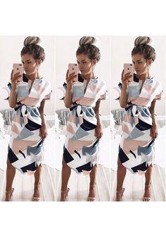 Weißer Farbblock Geometrischer Druck Schärpe V-Ausschnitt Midi Kleid