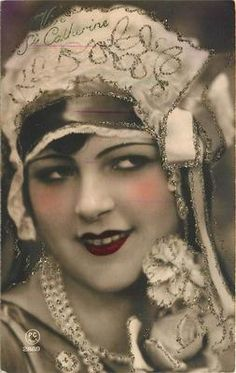 Flapper Girl Portrait with Glitters 1930s Postcard Ste Catherine | eBay