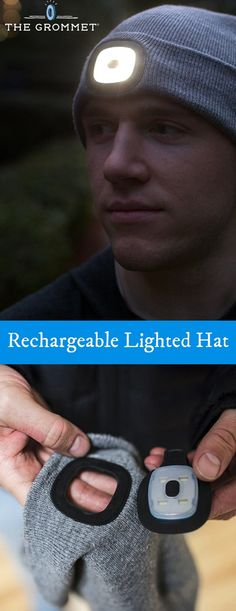 Stay warm and see in the dark. This one-size-fits-most knit hat has a USB-charged light with three settings right on the front. Great for running in the dark.