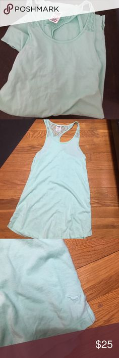 Long Mint Racerback Tank with Lace Great condition. This is a long tank, I'm guess could also be used as a swimsuit cover up. PINK Victoria's Secret Tops Tank Tops