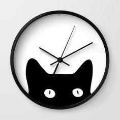 Black Cat Wall Clock by goodsense Cnc Laser, 3d Laser Printer, Wood Slice Crafts, Cat Clock, Clock Wall, Wood Clocks, Cat Wall, Dot And Bo, String Art