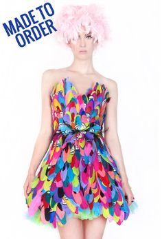 David Dalrymple for House of Field Colorful Bird Feather Dress