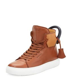 BUSCEMI 125Mm High-Top Leather Sneaker With Padlock, Tan/Navy. #buscemi #shoes #
