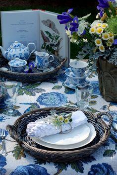 Blue tablescape.