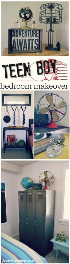 Teen Boys Bedroom Makeover - Eclectic Mix of DIY, Vintage Industrial via Fox Hollow Cottage - Interior Style Today