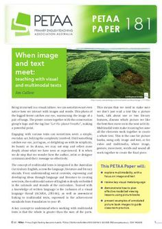 When image and text meet: teaching with visual and multimodal texts Visual Literacy, Digital Literacy, Literacy Activities, Teaching Resources, Teaching Ideas, Classroom Organisation, Classroom Ideas, Australian English, Text To Text Connections