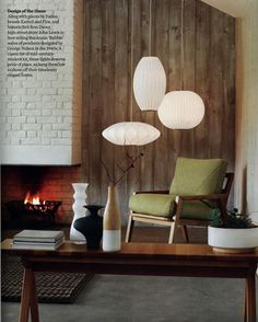 LOVE …. Eclectic Home Office Design Ideas With Rustic Wooden Wall And Brick Fireplace Mantel Featuring Elegant Hardwood Desk And MidCentury Bubble Pendant Lights By George Nelson of Stylish Bubble Pendant Lights Inspirations  Make Your Own Pendant Light Creative Bubble Pendant Light bubble pendant light fixtures Glass Bubble Light Glass Picture Light Modernica Saucer Bubble Pendant Light . 600x748 pixels