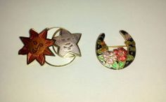 Cloisonne' Enameled Brooches - By Fish