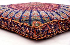 Amazon.com: Indian Floor Cushion Cover Blue Peacock Mandala Tapestry Large Square Floor Pillow Cover Ottoman Pouf Bohemian Meditation Seating Throw By Handicraftspalace: Home & Kitchen