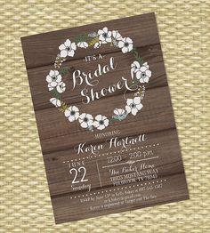 Rustic Bridal Shower Invitation Rustic Wood by SunshinePrintables