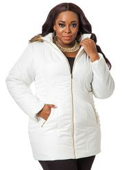 b40a8a94ecd Pleather Trimmed Buckle Coat - Ashley Stewart Ashley Stewart