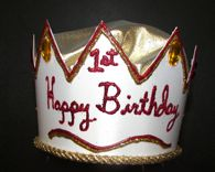 Boys Happy 1st Birthday Gold Crown
