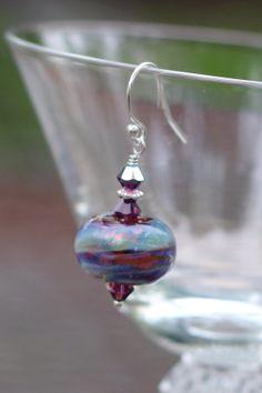 Purple & Blue Aurora Borealis Lampwork Glass Earrings by MyPrettyChicBoutique, $28.00